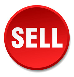 Sell red round flat isolated push button vector