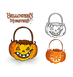Halloween monster pumpkin lantern eps10 file vector