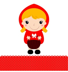 Little red riding hood with basket vector