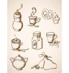 Hand drawn vintage coffee icons vector