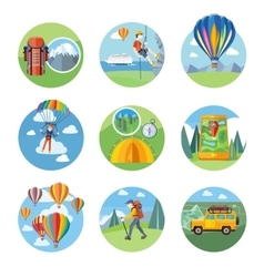 Hike expedition tourism parachuting ballooning vector