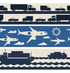 Freight cargo transport icons seamless patterns in vector