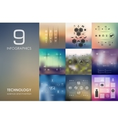 Technology infographic with unfocused background vector