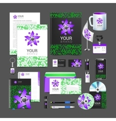 Set of corporate identity elements green black and vector