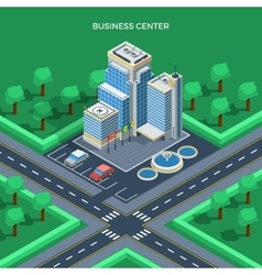Business center isometric top view concept vector