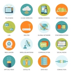 Telecommunication icons in colored circles vector