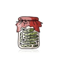 Bank of pickled cucumber sketch for your design vector image
