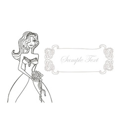 Beautiful bride doodle card vector