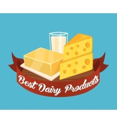 Best dairy products banner with red ribbon vector