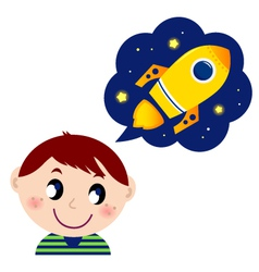 boy dreaming about rocket vector image