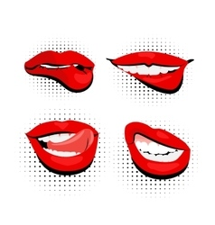 Colored icons sexy shiny red lips pop art vector
