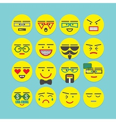 cute colorful circle emoticons set vector image