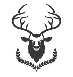 Deer head silhouette with wreath isolated on white vector