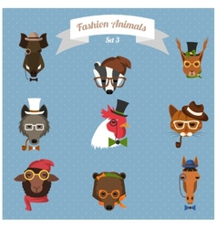 Fashion Hipster Animals set 3 vector image