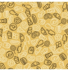 Fast food Set of cartoon seamless pattern vector image