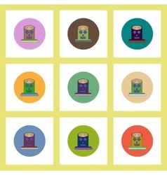 Flat icons halloween set of spooky tree trunk vector