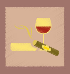 Flat shading style icon cigar glass of wine vector