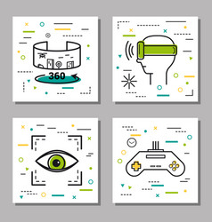 Four finance thin line icons vector