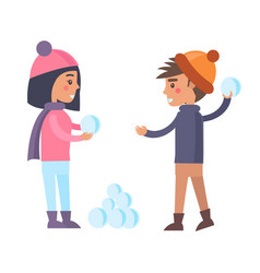 happy boy and girl going to play snowballs winter vector image vector image