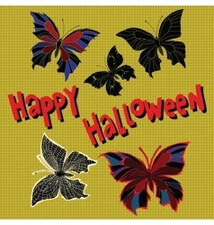 Happy halloween set night butterflies dead vector