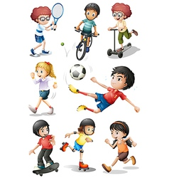 Kids engaging in different sports activities vector image vector image