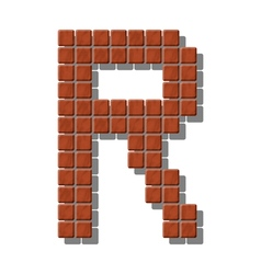 Letter r made from realistic stone tiles vector
