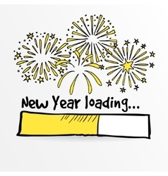 Loading bar with fireworks new year anniversary vector