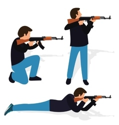 man shooting rifle gun weapon position shot action vector image