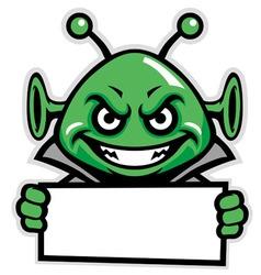 martian green mascot hold a sign vector image vector image