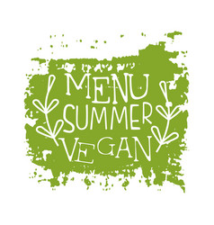 Menu summer vegan green label vector
