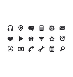 monochrome icons for the web full set vector image vector image