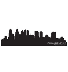 Philadelphia Pennsylvania skyline Detailed silhoue vector image