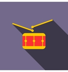 Red drum and drumsticks icon flat style vector
