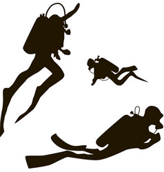 scuba diver silhouettes diving silhouettes on vector image vector image