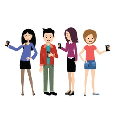 Selfie people set on the white background vector image vector image