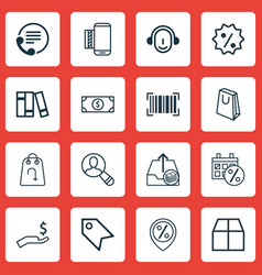 Set of 16 e-commerce icons includes discount vector