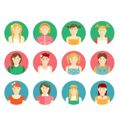 set of girls and young women avatars vector image vector image