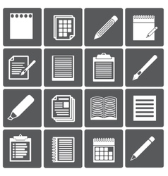 Set of paper documents and pencils icons vector image