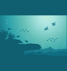 Silhouette of fish and coral reef on sea landscape vector