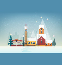 Snowy landscape with small mountain town city vector