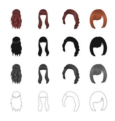 Wig hairdresser salon and other web icon in vector