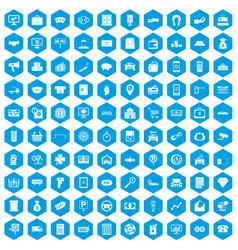 100 coin icons set blue vector