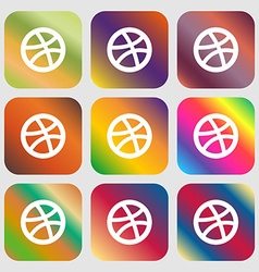 Basketball icon nine buttons with bright gradients vector