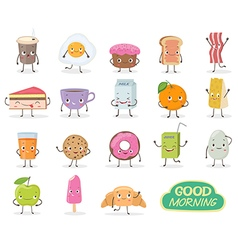 Breakfast emoticon food funny elements character vector