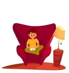 Boy reading book sitting on the armchair vector