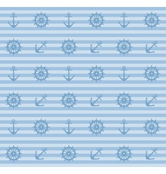 Seamless pattern with anchors and steering wheels vector