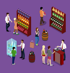 Alcohol shop interior with wine bottles customers vector