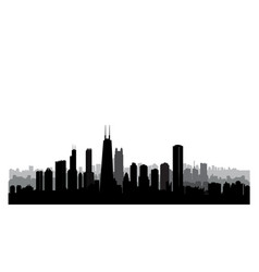 Chicago city buildings silhouette usa urban vector