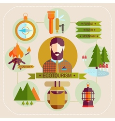 Ecotourism man set flat icons vector