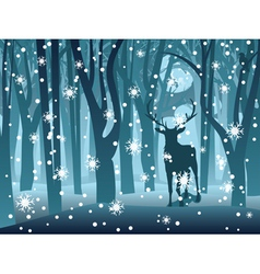 Stag in winter forest vector